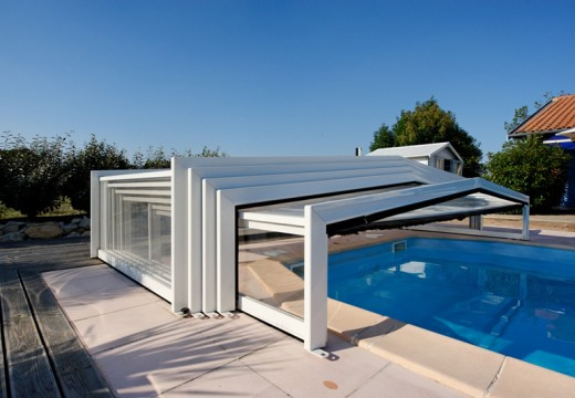 Abri piscine télescopique sans rail