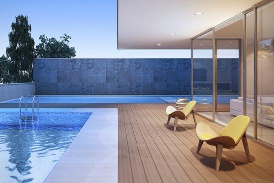 Comment poser des lames en bois composite autour d'une piscine?